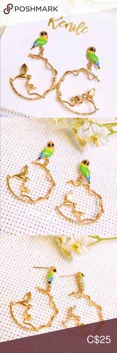 🦜 Birdie Earrings 🦜 ⚠️  FREE change to painfree earclips ⚠️  · 100% Brand NEW · Material: Copper · Needle Material: Alloy  · Size:  W 2.6 cm x H 4.2 cm · Sold only in pairs · All pictures took from the real items. However, as the actual colors you see will depend on your monitor, we cannot guarantee that your monitor's display of any color will be accurate. Jewelry Earrings All Pictures, Monitor, Women Jewelry, Copper, Pairs, Shop My, Change, Display, Colors