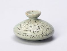 """Oil Bottle with Scrollwork Goryeo dynasty, Korea 12th-13th century "" From the Art Institute of Chicago."