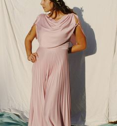 S A L E 70's Grecian pink pleated gown drapes by CarmensitaVintage, $25.50