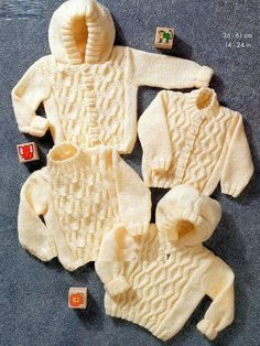 PDF Digital Baby Children s Knitting Pattern Aran Hooded Coat Jacket Cardigan Sweater to fit Chest sizes 14 to 24  £1
