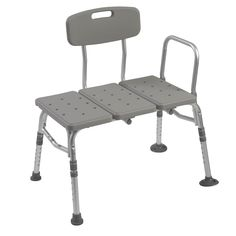 Drive Medical Plastic Transfer Bench with Adjustable Backrest, Silver