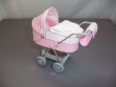 1/12th scale modern pink & white needlecord  pram, buggy, stroller, baby carriage hand crafted miniature via Etsy