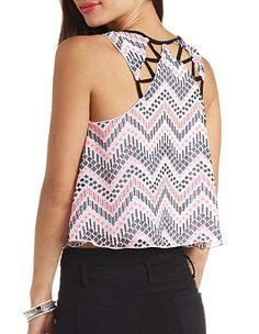 Strappy Cut-Out Chevron Swing Crop Top: Charlotte Russe