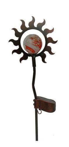 Solar power gazing ball gazing globe 15 inch sun garden stake led