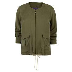 Buy Violeta by Mango Tencel Bomber Jacket, Khaki Online at johnlewis.com