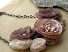 SALE Coffee and Cream fabric flower bib necklace by FreshMetal