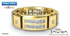 2 Row Princess Diamond Mens 7.6mm Eternity Wedding Band 14k Yellow Gold Ring 2Ct