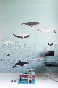 Kids' Room Ideas: Creating a Mural from Wallpaper Wallpaper Paste, Kids Wallpaper, Photo Wallpaper, Wallpaper Murals, Wall Drawing, Drawing Style, Mural Art, Kids Wall Murals, Wall Mural Painting