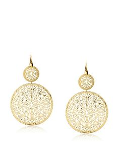 Argento Vivo Laser Cut Double Round Large Drop Earrings at MYHABIT