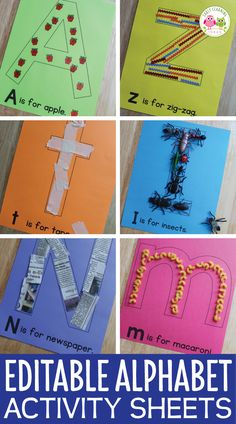 Alphabet Activities Letter Collage Sheets Editable ABC Activity Pages is part of Alphabet activities kindergarten - sound as Alphabet Activities Kindergarten, Toddler Learning Activities, Preschool Letters, Preschool Learning Activities, Preschool Lessons, Preschool Crafts, Motor Activities, Preschool Activity Sheets, Teaching Letters