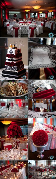 Red, Black, and White Damask wedding details! ~~~~I like the table settings and the groom/bride glasses