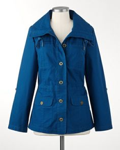 Coldwater Creek Ripstop cargo jacket in Morning Mist Blue.  Just got this as my spring work jacket.  Very pretty and dressy enough for the office.