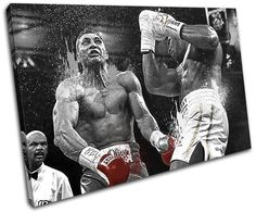 Bold Bloc Design - Boxing Joshua Klitschko Grunge Sports 135x90cm SINGLE Canvas Art Print Box Framed Picture Wall Hanging - Hand Made In The UK - Framed And Ready To Hang