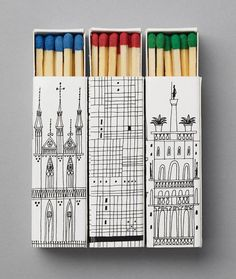 Interesting match boxes featuring some lovely illustrations. Love the elegance