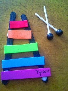 Fun, Free Letter X Activities for Preschool and Kindergarten Classrooms Preschool Letter Crafts, Preschool Music Activities, Alphabet Letter Crafts, Letter Activities, Daycare Crafts, Letter Of The Week, Instruments, Popsicle Sticks, Classroom
