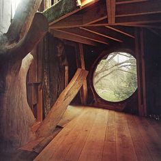 Cool round window in a treehouse.