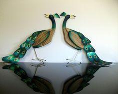 Pair Mid Century Peacock Birds Wood Brass Wall Hangings Masketeers Retro Vintage