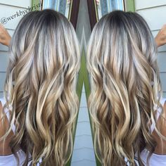 Highlights and lowlights, platinum blonde. Honey blonde. Balayage. Beach waves. Perfect hair. Hairstyles