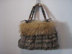 borsa con pelliccia cm 40 x 27 profonda 8 cm