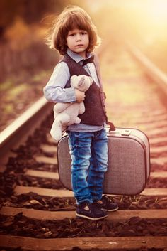 on the roads - ARTFreeLife, Boy, kid, child, cute suitcase, rails, photo