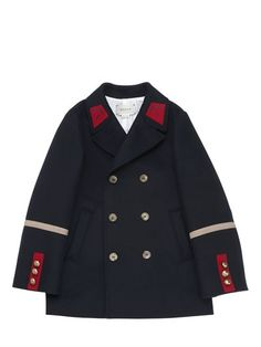 GUCCI - DOUBLE BREASTED WOOL & CASHMERE COAT - NAVY