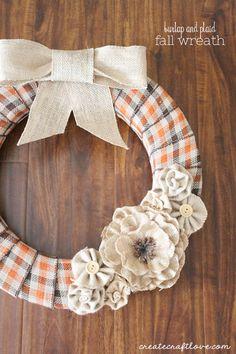 Burlap and Plaid Fall Wreath - Create Craft Love