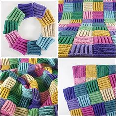 these knitted squares have deep stocking stitch rolls which make them very warm and full of texture.