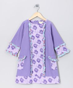 Take a look at this Purple Feather Organic Pocket Dress - Infant, Toddler & Girls by violet + moss Girls on #zulily #fall today!