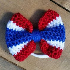 USA Hairbow Red White and Blue Crochet Bow Headband Pastel Crochet Hair Bows, Crochet Hair Accessories, Crochet Headband Pattern, Crochet Girls, Crochet Flowers, Crochet Patterns, Crochet Crafts, Crochet Projects, Knit Crochet