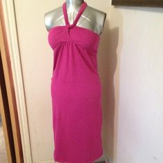 "Pink Strapless or Halter Dress or swimsuit coverup Cute summer dress. Can be worn strapless or as halter. From neckline to hem 38"" from seam under bust to hem 33"". Seam under Bust 28"" -36"" when elastic in back is stretched. Old Navy Swim Coverups"