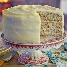 This decadent layer cake is frosted with a rich cream cheese icing.