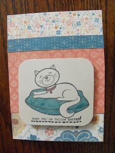 Get Well Card using CTMH Clementine paper (X7156B) and Cozy Cat (A1140) stamp set. #CTMH  #Card, #Stamping Products can be found on my website: www.LaurenKelly.ctmh.com