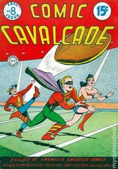 Comic Cavalcade (Fall cover by Frank Harry Batman Comic Books, Marvel Dc Comics, Comic Art, Justice Society Of America, Wonder Woman Comic, Action, Comic Panels, Classic Comics, Dc Characters