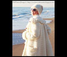 White Winter Crochet Coat/Cardigan -  Crochet Pattern - Instant Download Pdf