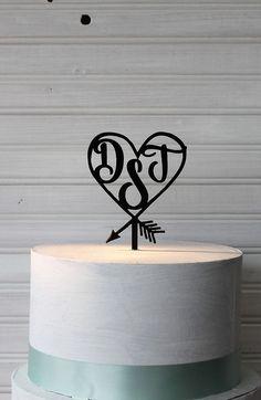Personalized Wedding Cake Topper  Arrow Heart by Primitiveweddings
