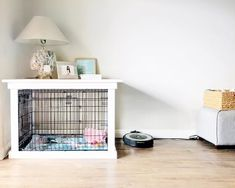 This DIY Dog Crate Furniture Piece Will Transform Your Living Room Dogs dog cage Dog Crate Table, Dog Crate Mats, Dog Crate Cover, Diy Dog Crate, Dog Kennel Cover, Dog Crate Furniture, Diy Dog Kennel, Dog Kennels, Furniture Plans
