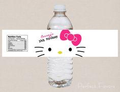 Nerd Hello Kitty Water Bottle Label. More