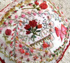 My Little Rose Garden Crazy Quilted Pincushion