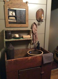 primitive bathroom with early dry sink. Country Decor, Primitive Country Bathrooms, Country Primitive, Primitive, Primitive Bathroom Decor, Primitive Bathrooms, Primitive Bathroom, Country Decor Rustic, Primitive Kitchen