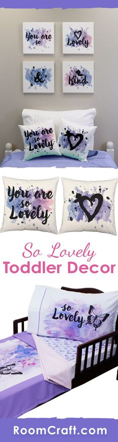 """You are so lovely and kind!"" This adorable watercolor design is available on throw pillows, canvas wall art, and toddler bedding. They are perfect for a complete room make over or choose one or two to add the finishing touches to your little girl's bedroom. Make decorating fun and easy with these adorable home decor products. #roomcraft"