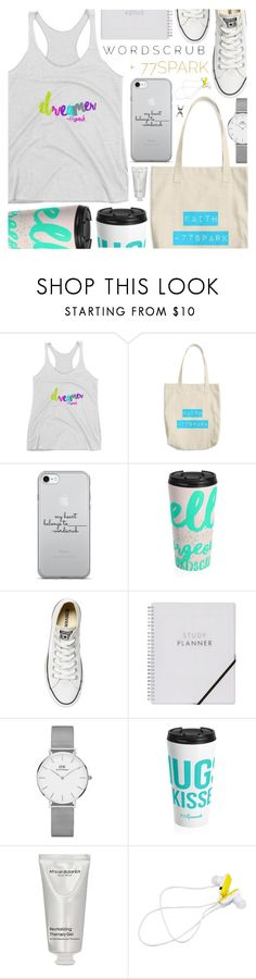 """""""77Spark"""" by pastelneon ❤ liked on Polyvore featuring Converse, Daniel Wellington, African Botanics and Forever 21"""