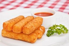 Photo about Deep-fried mozzarella cheese sticks with parsley and sour-sweet sauce. Image of lunch, starter, plate - 40468304 Homemade Mozzarella Sticks, Mozzarella Cheese Sticks, Easy Cooking, Cooking Tips, Food Articles, Sweet Sauce, Appetizers For Party, New Recipes, Pinstriping