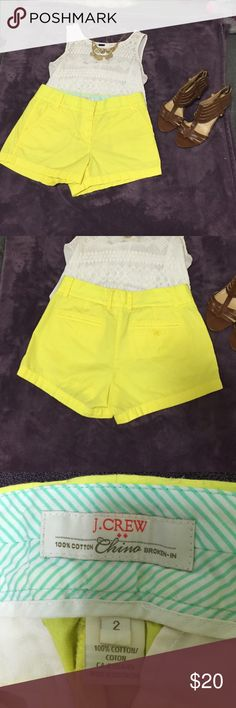 J. Crew Classy Lemon Chino Shorts These are the broken in style. Also the classiest pair of shorts I've ever tried on. Unfortunately these were too big for me. 🍋 would also look awesome with a gray shirt/sweater or a denim top! J. Crew Shorts