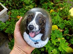 Pet portrait painted on the small rock. by WerockforKasity on Etsy