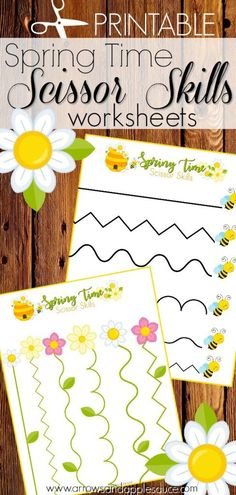Spring is here and we're excited to practice our scissor skills with these cute Spring-themed cutting sheets. Get out those safety scissors and refine those fine motor skills! Cutting Activities, Motor Skills Activities, Kindergarten Activities, Preschool Assessment, Preschool Lessons, Preschool Learning, Early Learning, Scissor Practice, Scissor Skills