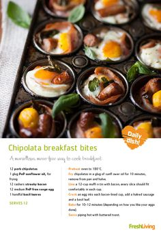 Chipolata breakfast bites = brilliant brunch on a lazy Sunday. Brunch Recipes, Breakfast Recipes, Good Food, Yummy Food, Western Food, Breakfast Bites, Light Recipes, Meals For The Week, Family Meals
