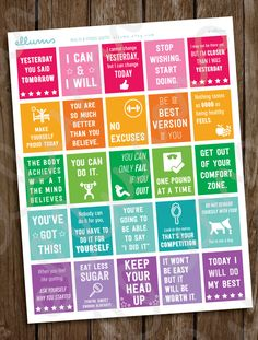 Printable Fitness Planner Stickers | Workout Motivational Quote Planner Stickers | Full Box Quotes | Erin Condren | Weight Loss Motivation by ellums on Etsy