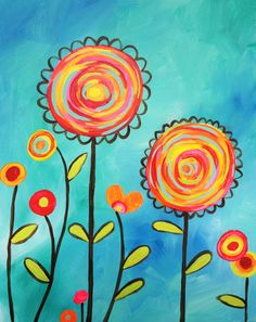 This painting captures the whimsical bright essence of a pinwheel blowing in the wind. It is fun and easy for all ages to create! Join us in designing your own field of Pinwheel Blooms! Spring Painting, Spring Art, Acrylic Painting For Kids, City Painting, Paint And Sip, Art Party, Ceramic Painting, Whimsical Art, Art Plastique