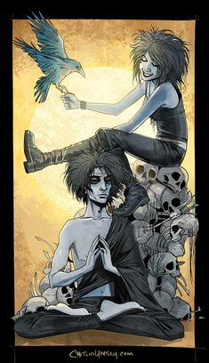 Sandman fan art- Dream and Death, by Caitlin Yarsky Neil Gaiman, Morpheus Sandman, Comic Books Art, Comic Art, Nocturne, Comic Character, Character Design, Cyberpunk, Graphic Novels