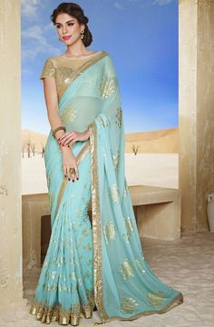 Iconic Ice Blue Saree